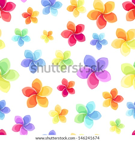 Seamless pattern with colorful flowers. Vector illustration. - stock vector
