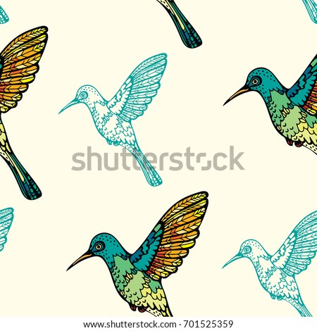 Seamless Pattern With Colorful Graphic Hummingbirds On A Yellow Background Vector Birds Wallpaper