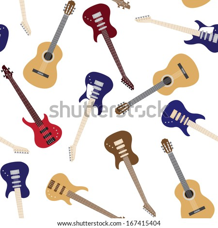 Seamless pattern with colorful guitars over white - stock vector