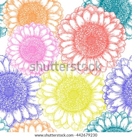 Seamless pattern with colorful hand drawn flowers - stock vector
