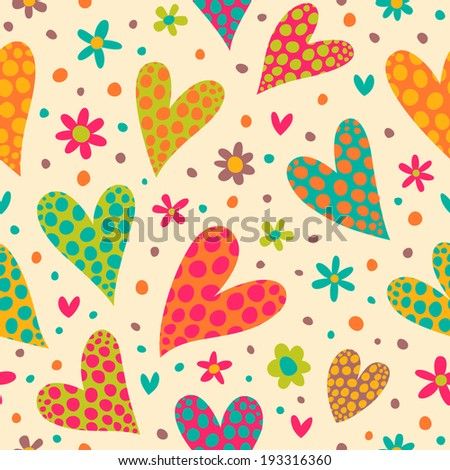 Seamless pattern with colorful hearts. Great for baby announcement, Valentine's Day, Mother's Day, Easter, wedding, scrapbook, gift wrapping paper, textiles. - stock vector