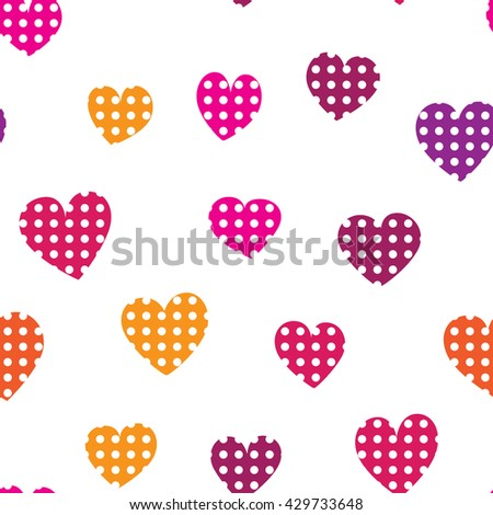 Seamless pattern with colorful hearts on a white background. Simple vector repeating texture. - stock vector