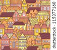 Seamless pattern with colorful houses. Fall City. - stock photo
