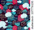 Seamless pattern with colorful houses with clouds - stock photo