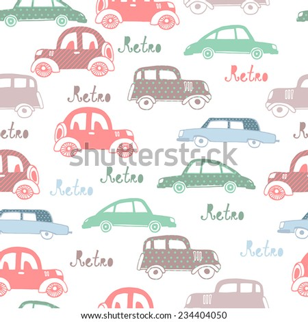 Seamless pattern with colorful little cars  - stock vector