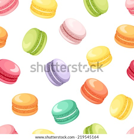 Seamless pattern with colorful macaroon cookies on white. Vector illustration. - stock vector