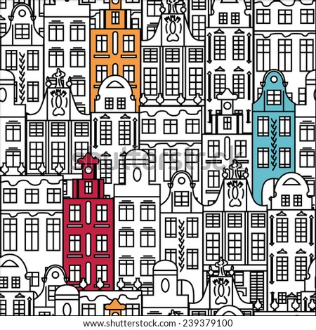 Seamless pattern with colorful multistage buildings in old European style. Vector illustration. - stock vector