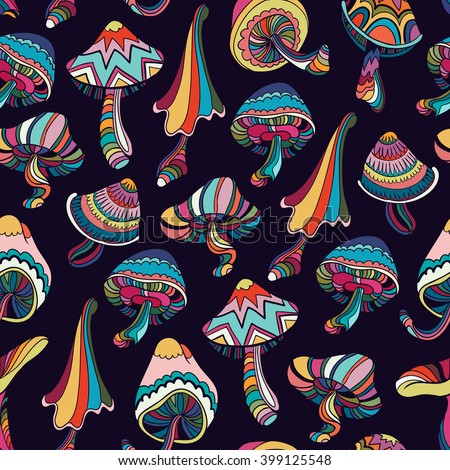Seamless pattern with colorful mushrooms in doodle style. Vector illustration. - stock vector