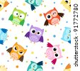 Seamless pattern with colorful owls - stock photo