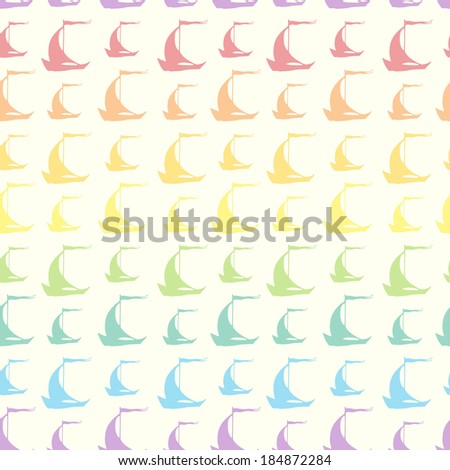 Seamless pattern with colorful rainbow vintage sailing ships. Vector illustration - stock vector