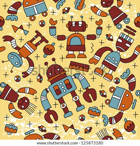 Seamless pattern with colorful robots