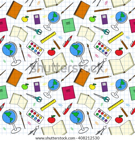 Seamless pattern with colorful school-related items. Sketch-like illustration of books, pens and other objects for studies. Background imitating a sheet of paper from a copy-book. Already in swatches. - stock vector
