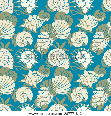Seamless pattern with colorful sea shells. Repeating print background texture. Cloth design. Wallpaper, wrapping
