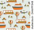 Seamless pattern with colorful transport. Vector illustration - stock vector