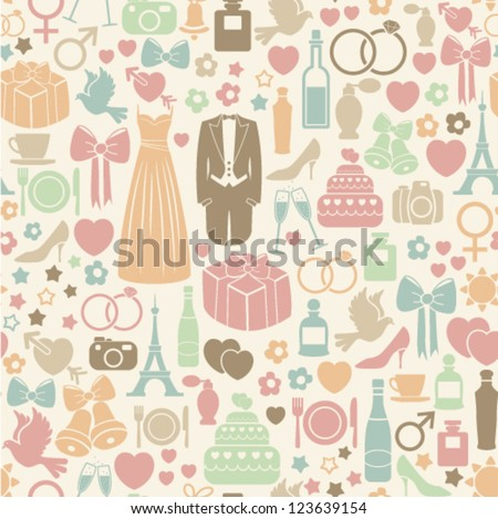 seamless pattern with colorful wedding icons - stock vector