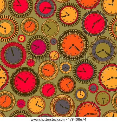 Seamless pattern with colourful clocks on green background
