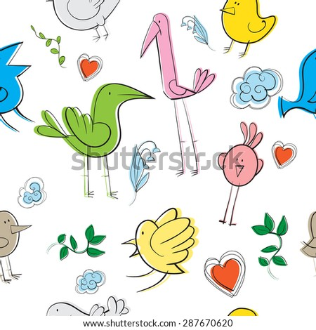 Seamless pattern with comical birds, leaves, clouds and hearts. - stock vector