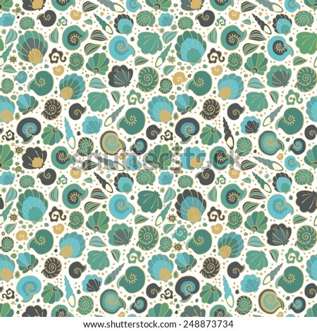 Seamless pattern with conch - stock vector