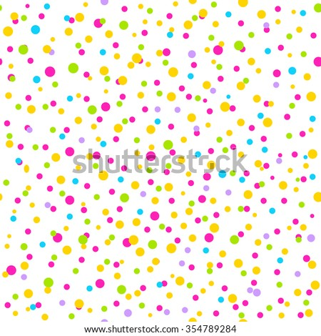 Seamless Pattern with confetti. Can be used as background for different celebrations: birthday, Easter, Christmas, New year, wedding, anniversary, party. Vector illustration.