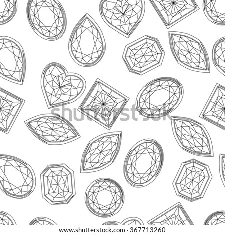 Seamless pattern with contour diamonds. Black and white color. Endless texture for your design, romantic greeting cards, announcements, fabrics. - stock vector