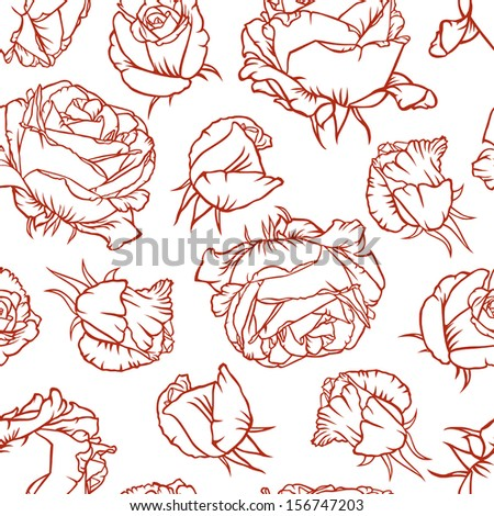 Seamless pattern with contour roses