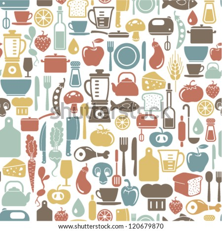 seamless pattern with cooking icons - stock vector