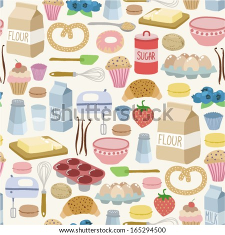 seamless pattern with cooking ingredients. on light background - stock vector