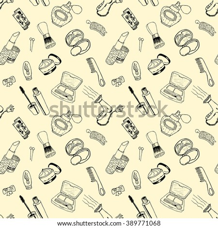 Seamless pattern with cosmetic doodles - stock vector