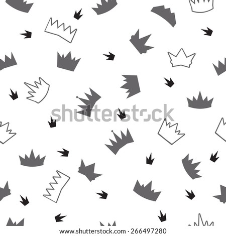Seamless pattern with crown symbol. Vector illustration - stock vector
