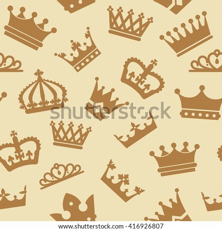 Seamless pattern with crowns. Vector illustration for kings