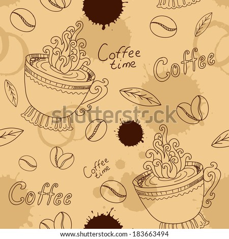 Seamless pattern with cup coffee beans and blots - stock vector