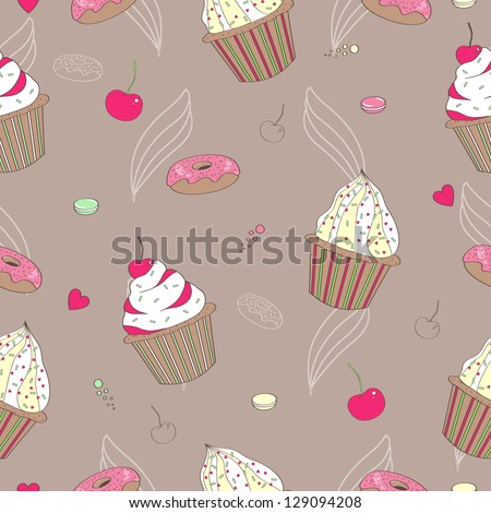 Seamless pattern with cupcake
