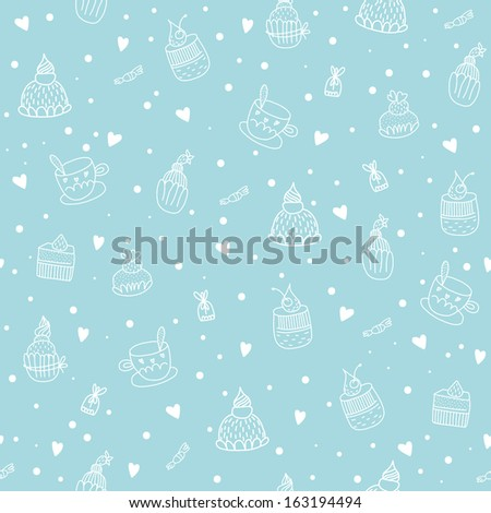 Seamless pattern with cupcakes, teacups, chocolates and hearts. EPS 10. No transparency. No gradients. - stock vector