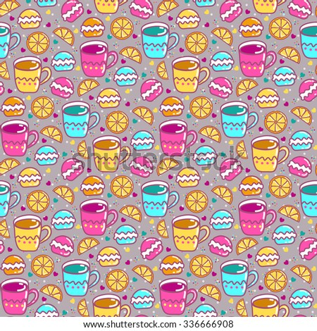 Seamless pattern with cups, lemon and sweets - stock vector