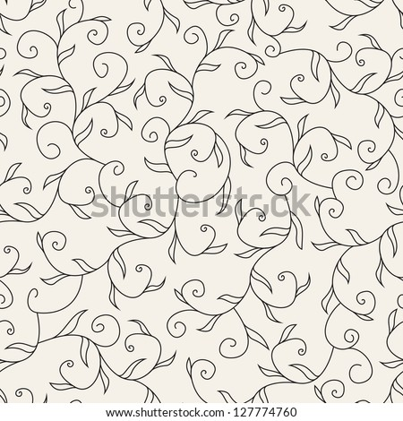 Seamless pattern with curls. Retro vector texture. Classical floral background - stock vector