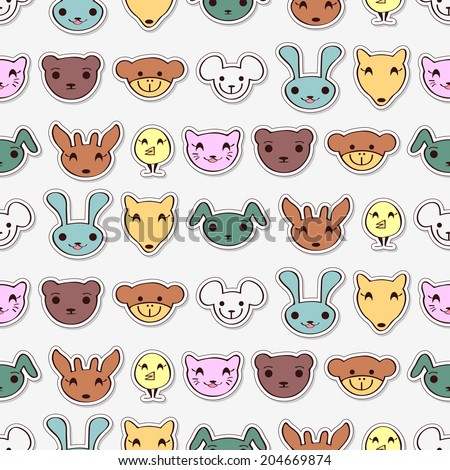 Seamless pattern with cute animal faces. Vector seamless texture for wallpapers, pattern fills, web page backgrounds - stock vector