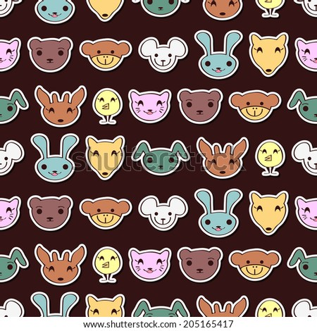Seamless pattern with cute animal faces. Vector seamless texture for wallpapers, pattern fills, web page backgrounds