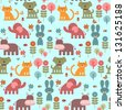 Seamless pattern with cute animals - stock vector