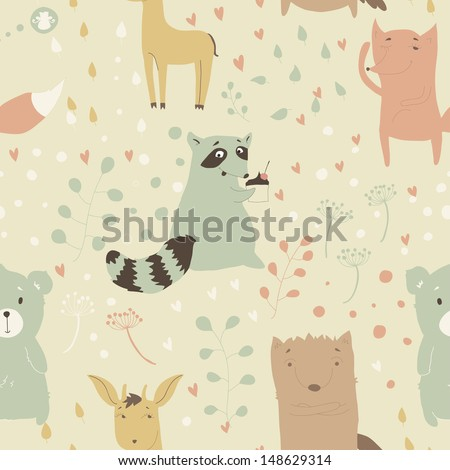 Seamless pattern with cute animals. Cheerful background with a fox, wolf, bear, deer, raccoon. Cartoon characters. Children's illustration. Eps 10 - stock vector