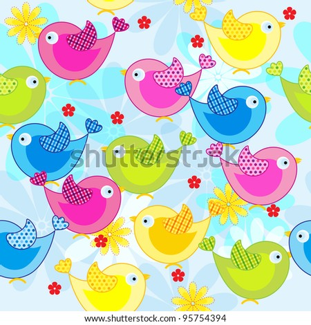 Seamless pattern with cute birds - stock vector
