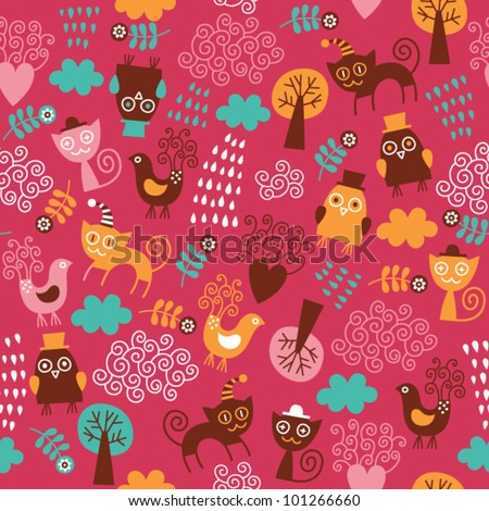 seamless pattern with cute birds and cats. Children's fabric design. - stock vector