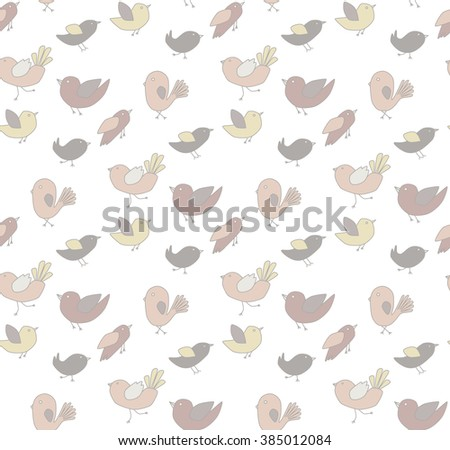 Seamless pattern with cute birds. Spring background with pastel colors.  - stock vector