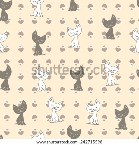 Seamless pattern with cute black and white cats. Vector illustration. - stock vector