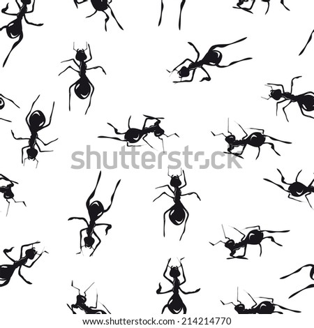Seamless pattern with cute black ants an white background - stock vector
