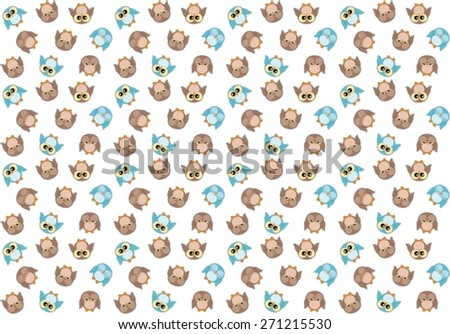 Seamless pattern with cute blue and brown owls on white (available as bitmap too) - stock vector
