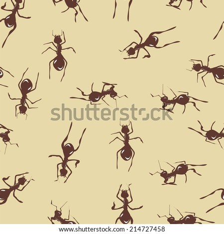 Seamless pattern with cute brown ants on beige background - stock vector