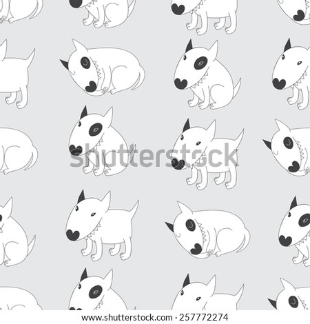 Seamless pattern with cute Bull Terriers. Vector background - stock vector