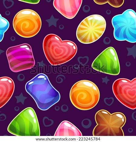 Seamless pattern with cute candies - stock vector
