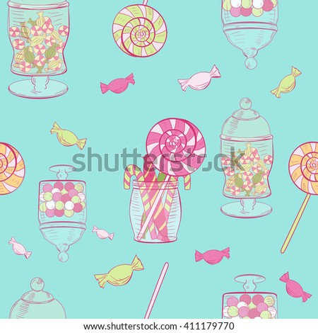 Seamless pattern with cute candies and jars - stock vector