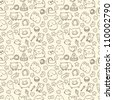 seamless pattern with cute cartoon animals - stock vector